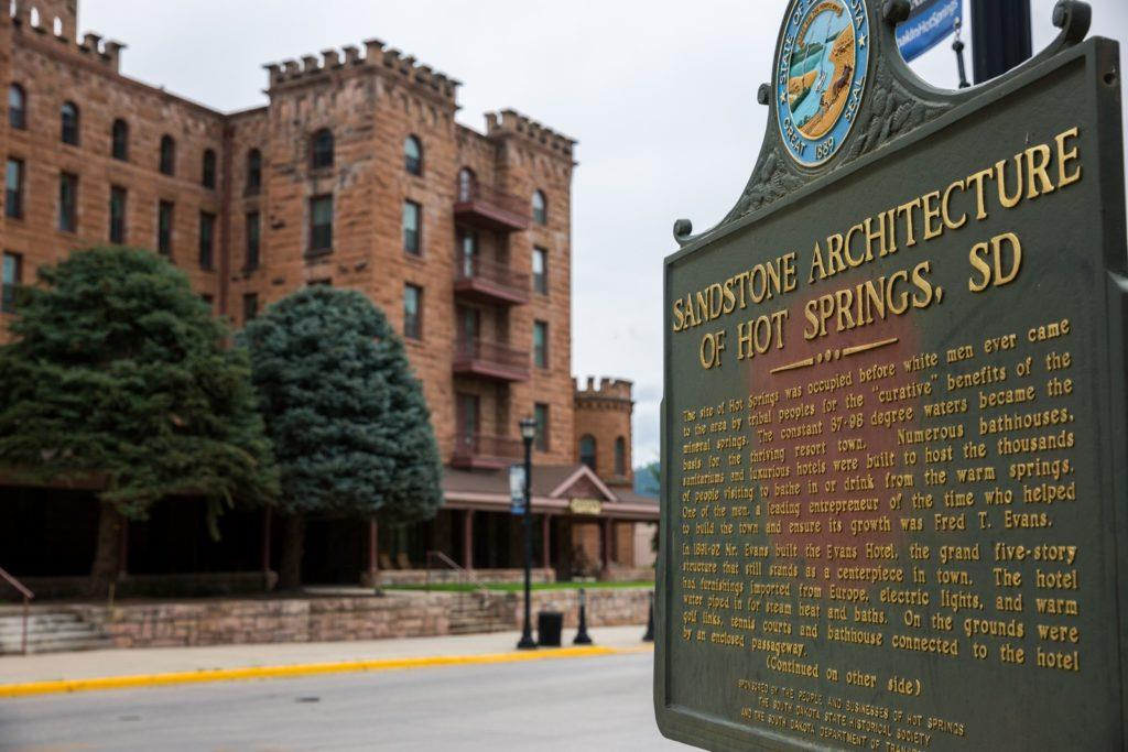 Historical sign in Hot Springs, South Dakota during our Yellowstone road trip.
