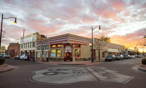 A cross-road on Route 66 in Winslow, Arizona.