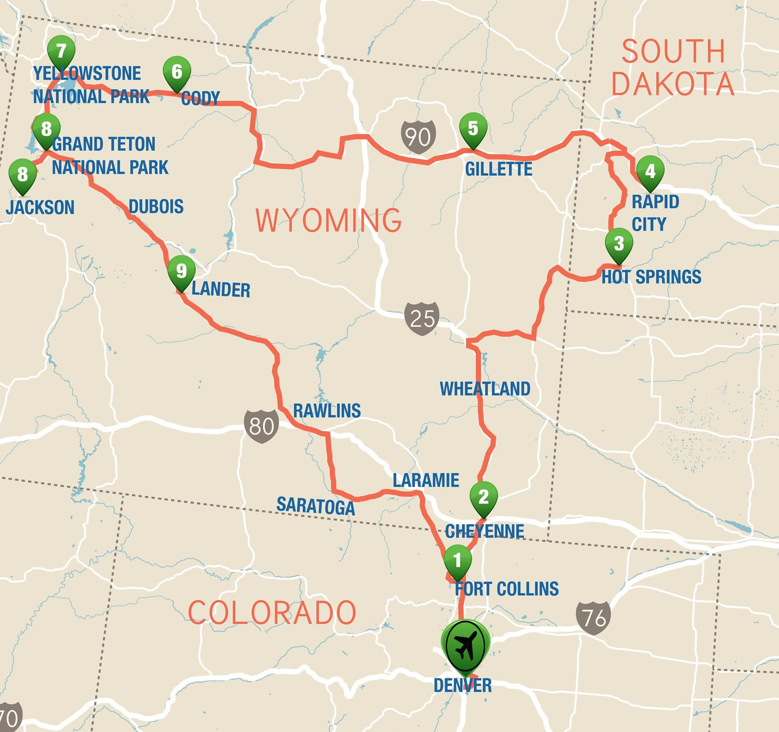 Map of our Yellowstone road trip