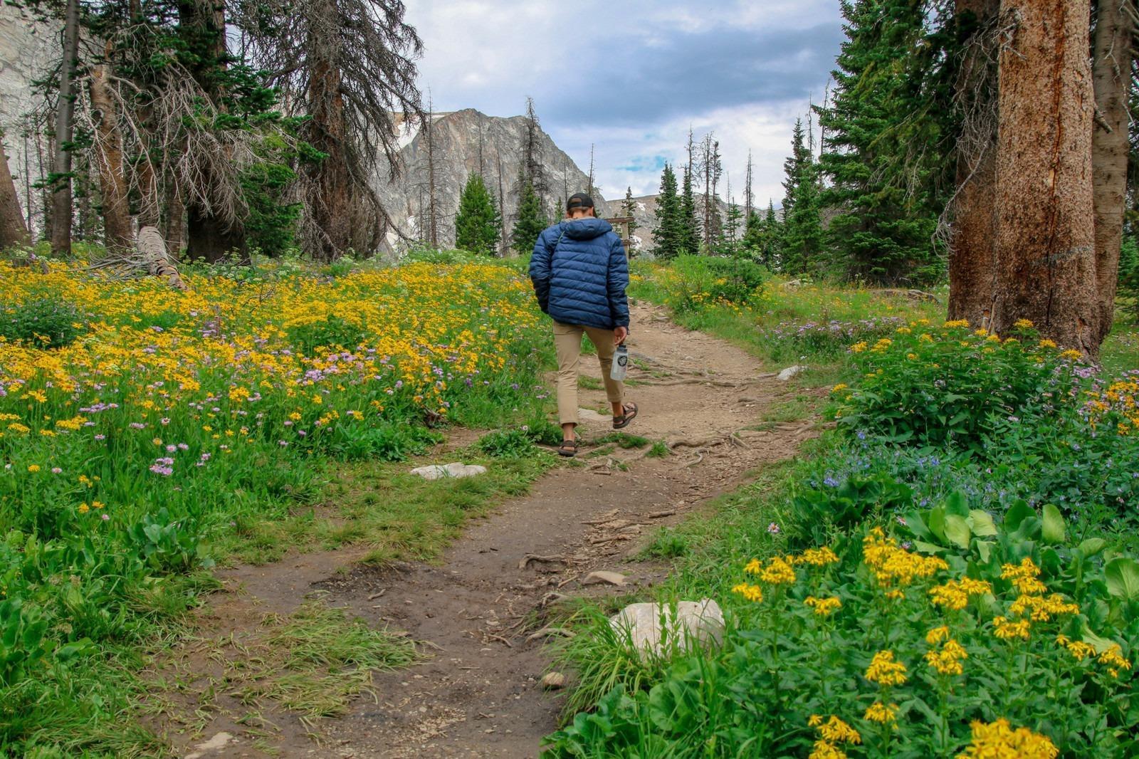 Man walks down a trail through Carbon County Spring Wildflowers