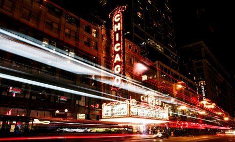 Night lights in Chicago, Illinois