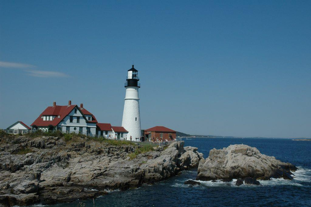 Lighthouse on the coast of Maine.