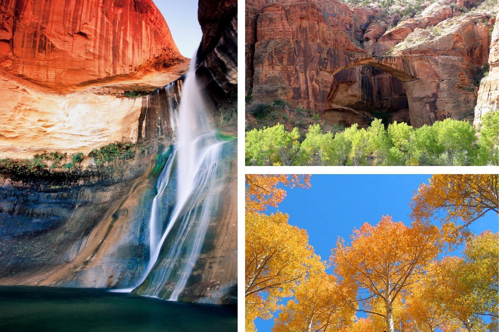 Calf Creek Falls, Burr Trails, Aspens in Boulder/Escalante, UT