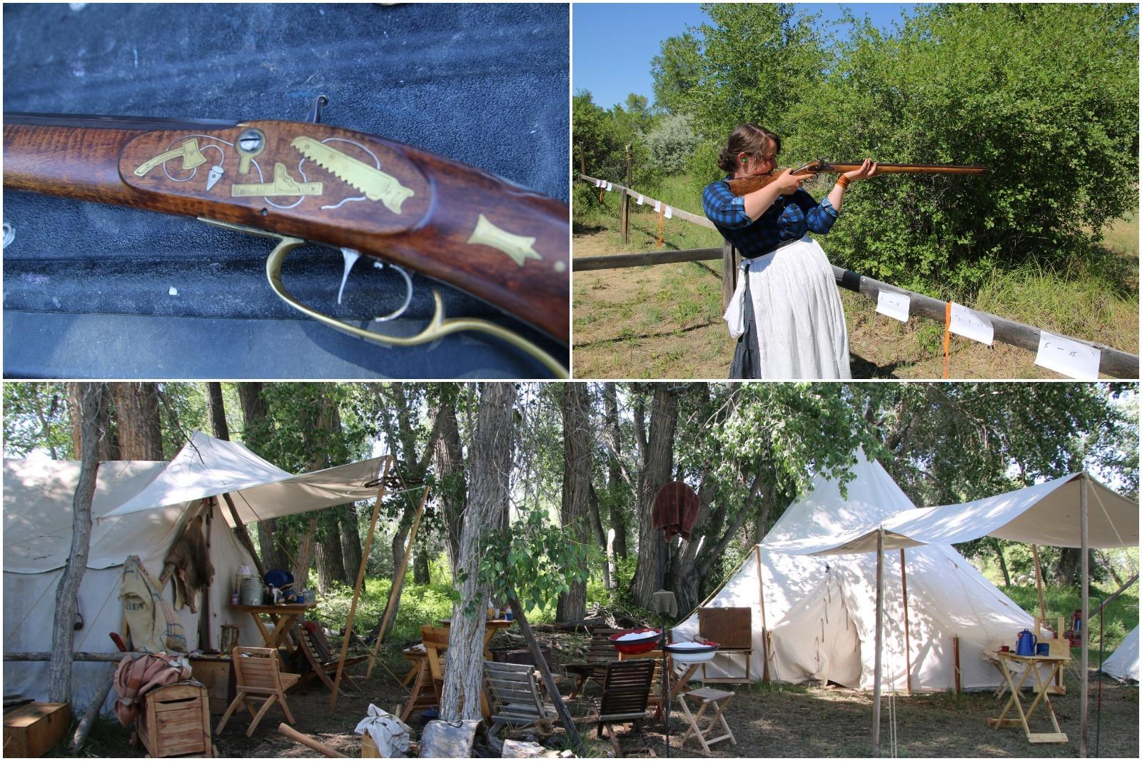 A collage of a gun, a woman in period costume shooting a gun, and a rendezvous camp set up.