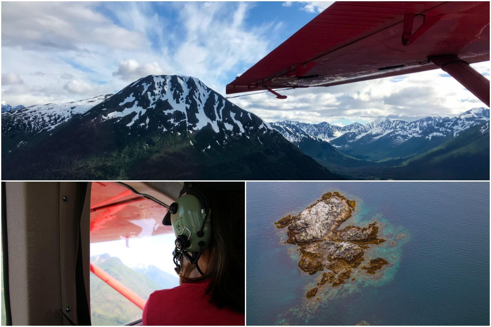 Collage of an Alaska float plane experience