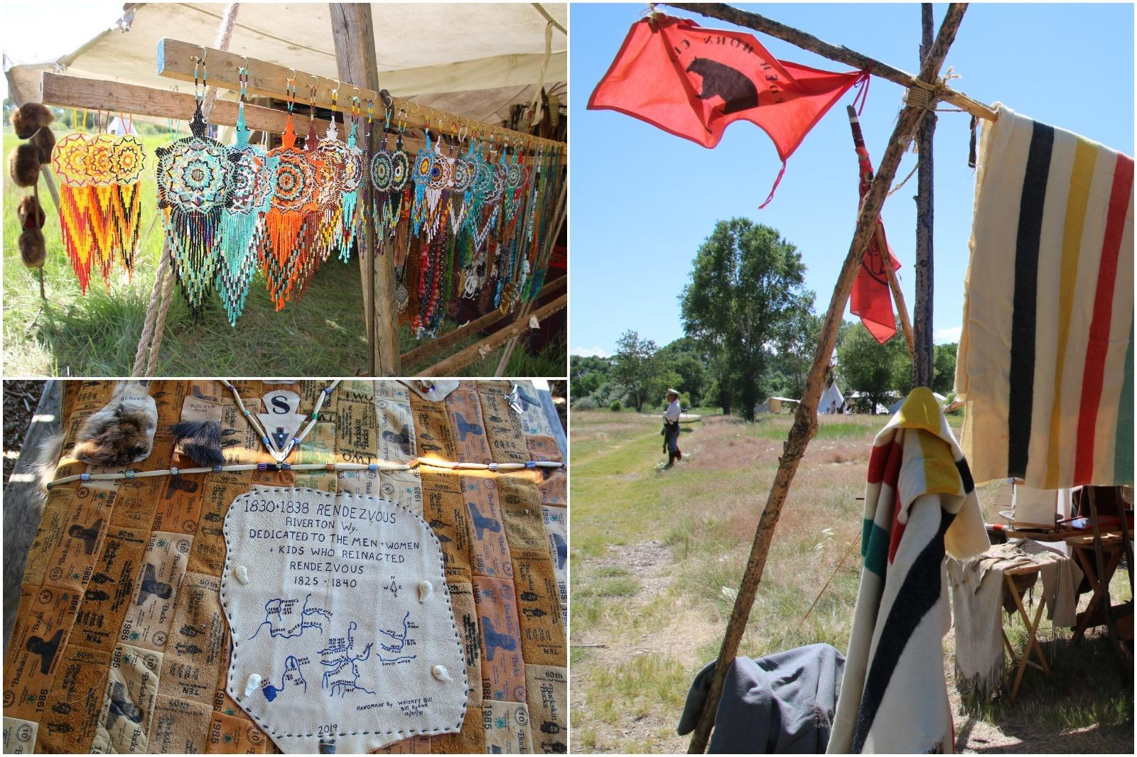 Earrings, flags, and a quilt at the 2019 Riverton Mountain Man rendezvous.