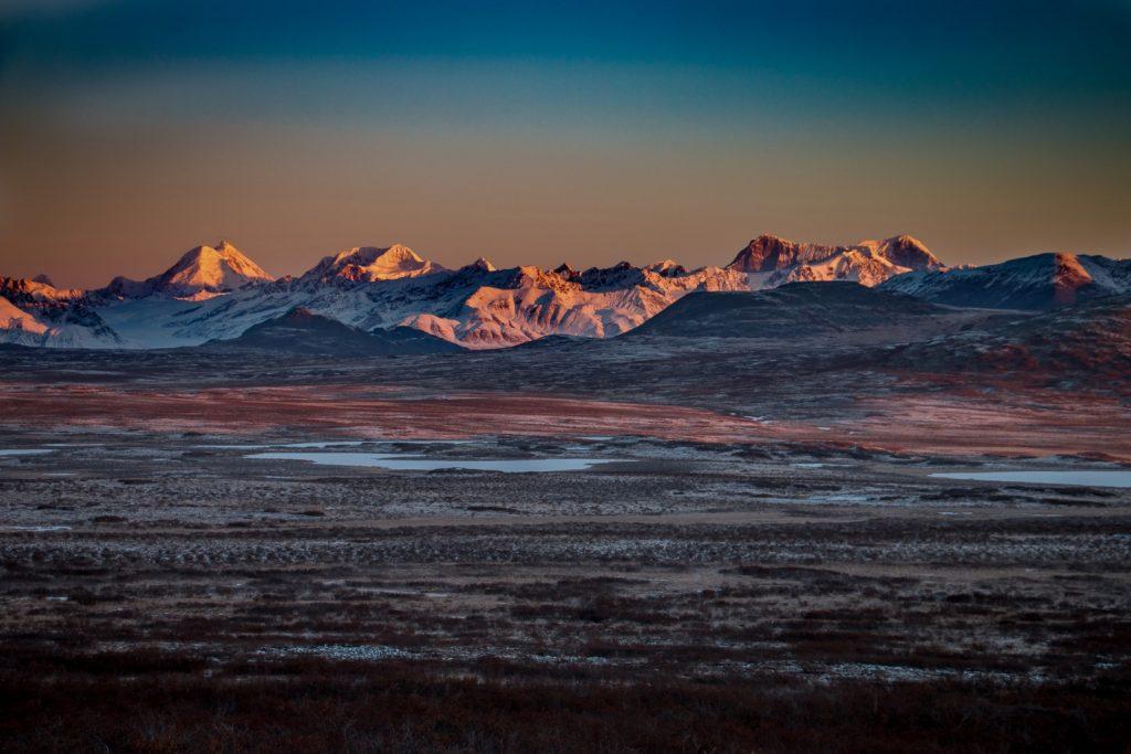 Alaska Range at dusk.