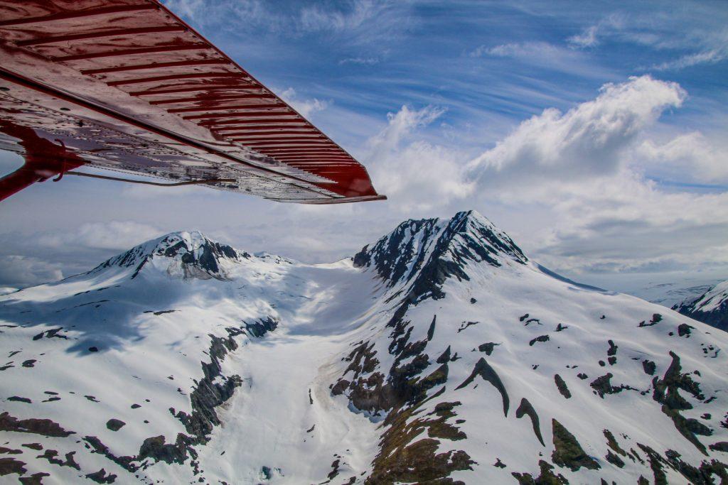 Float plane trip above glaciers in Alaska.