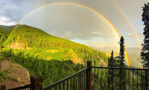 Double rainbow above the forests in Alaska.