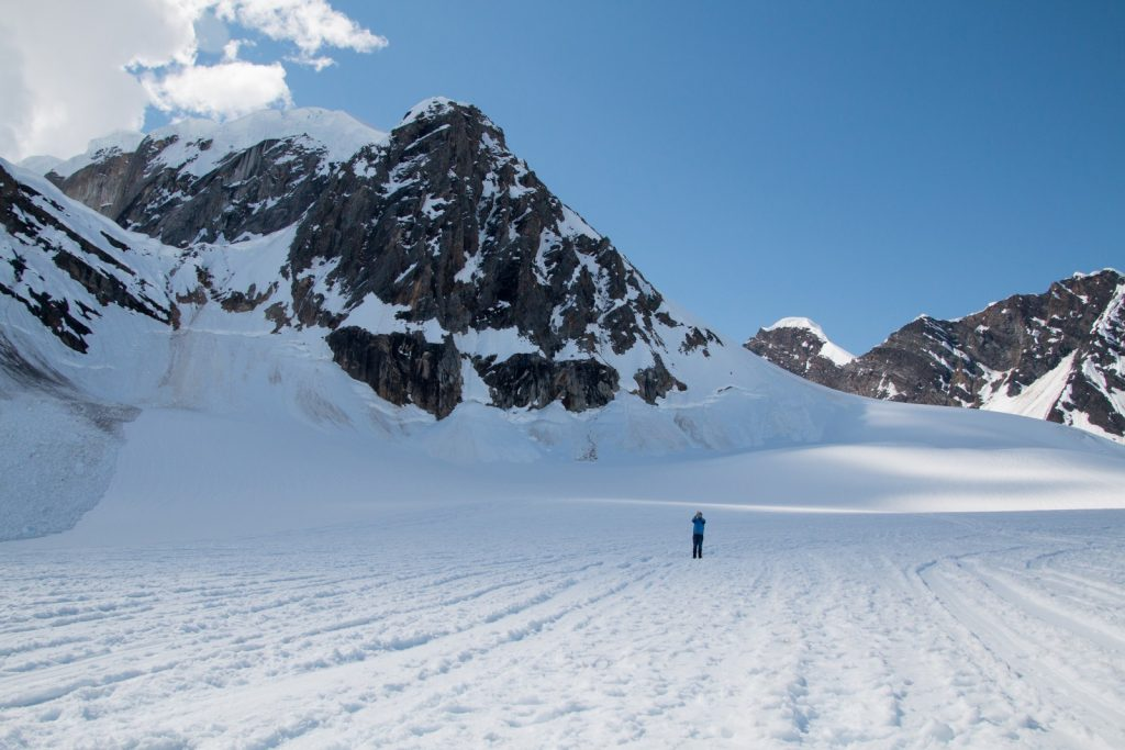 Standing on a glacier in Alaska.