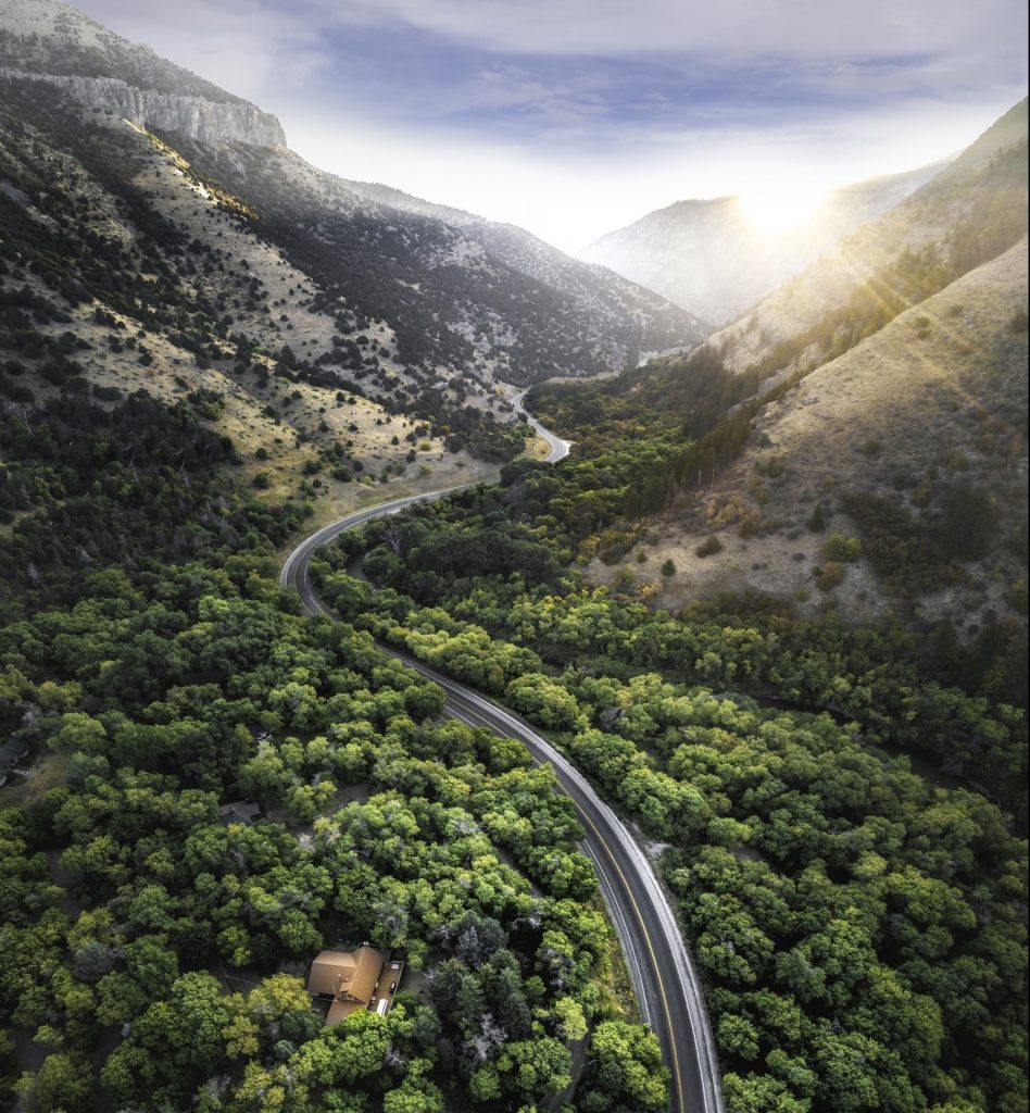 Logan Canyon road in Cache Valley, Utah.