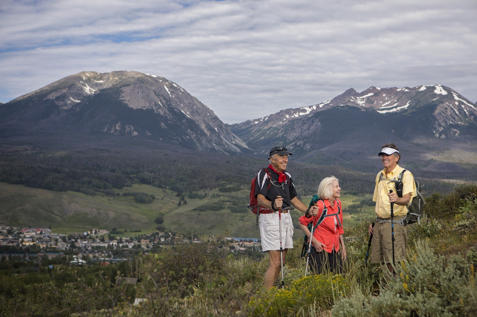 A group enjoys a hike in high Colorado country