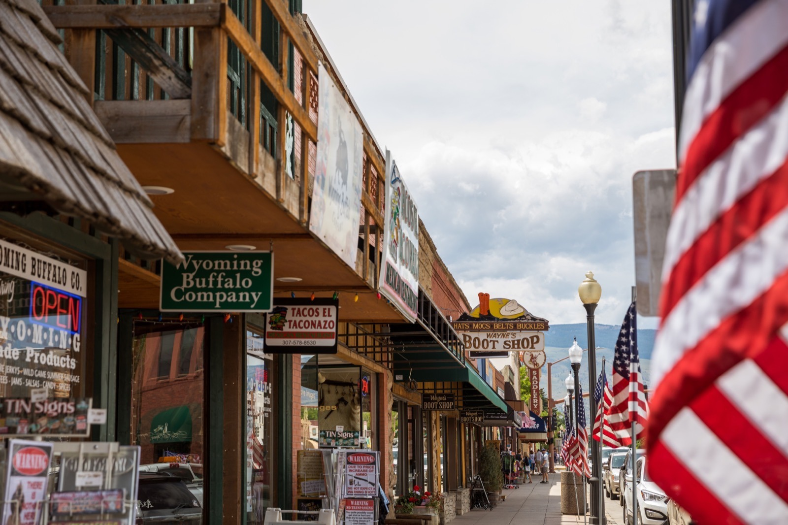 Shops on Main Street in Cody Wyoming part of a grand American adventure