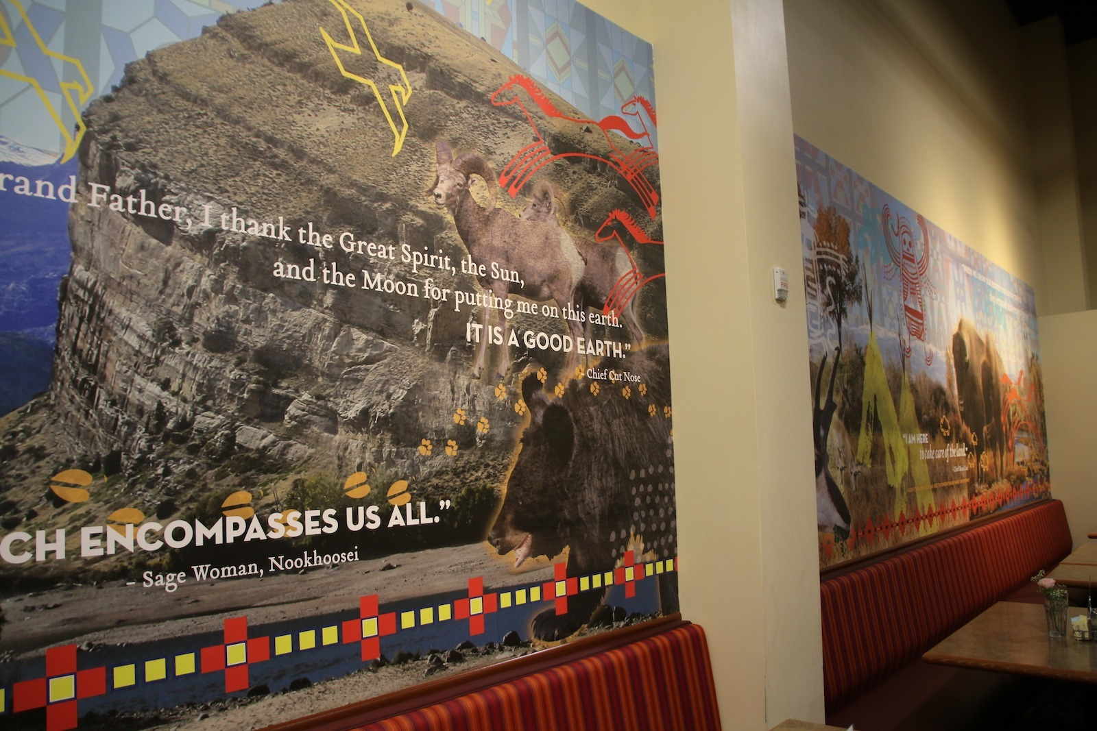 Native American imagery and text adorns the walls of The Buffalo Restaurant in the Wind River Hotel and Casino in Wyoming