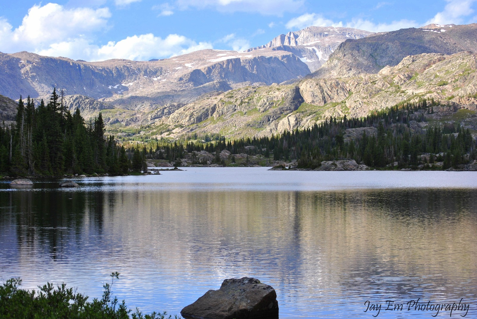 Alpine lake on Wyoming backpacking trip in Bighorn Mountain Country