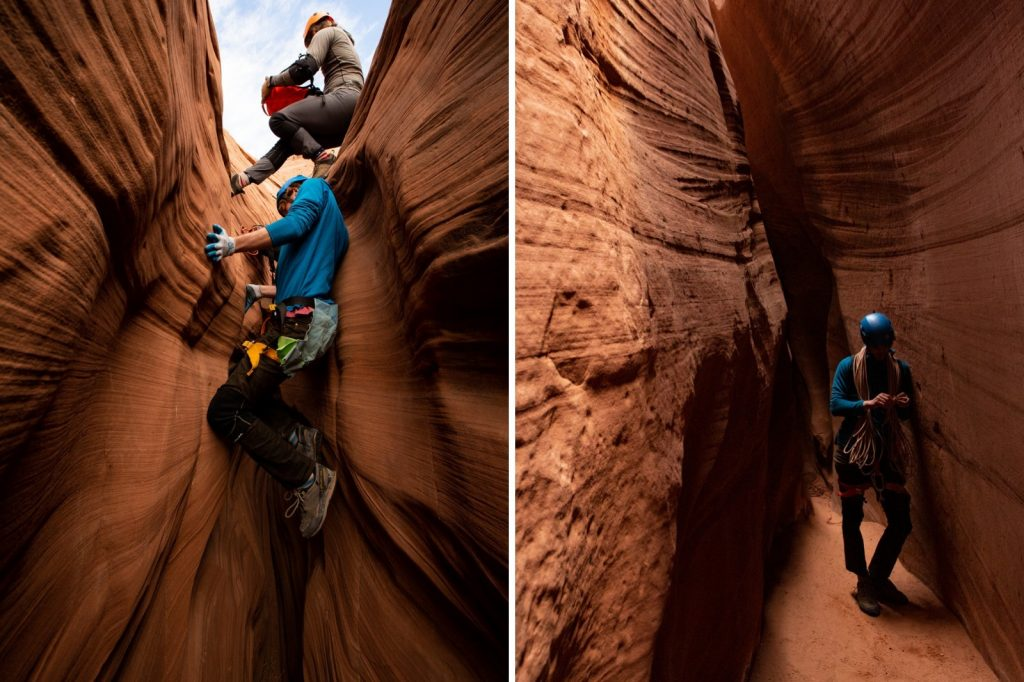 Two pictures of Lucas in the slot canyons