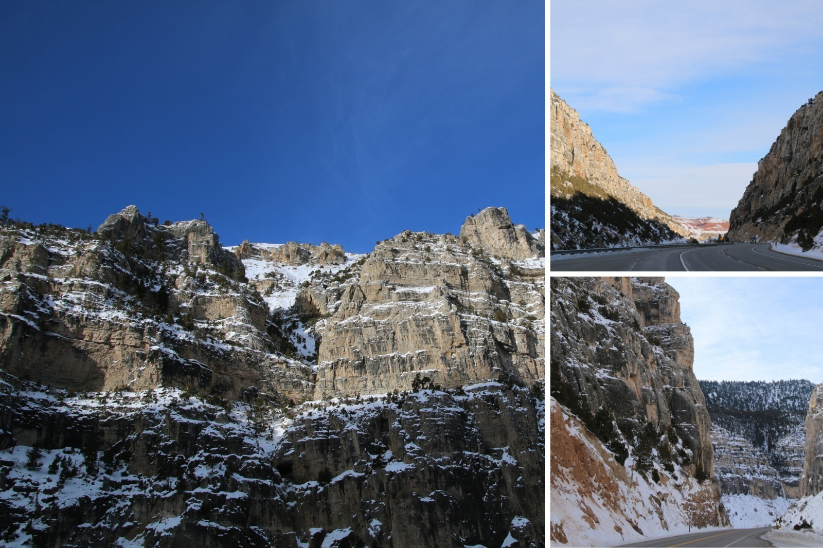 Wind River Canyon Scenic byway images in winter