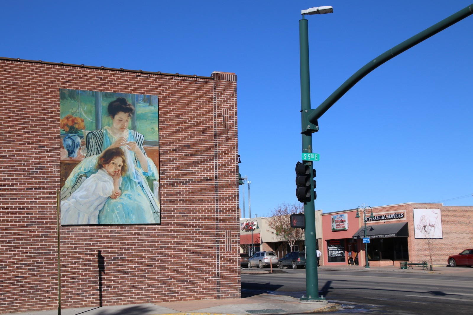 Two pieces of public art on Riverton buildings, Wyoming cultural experiences