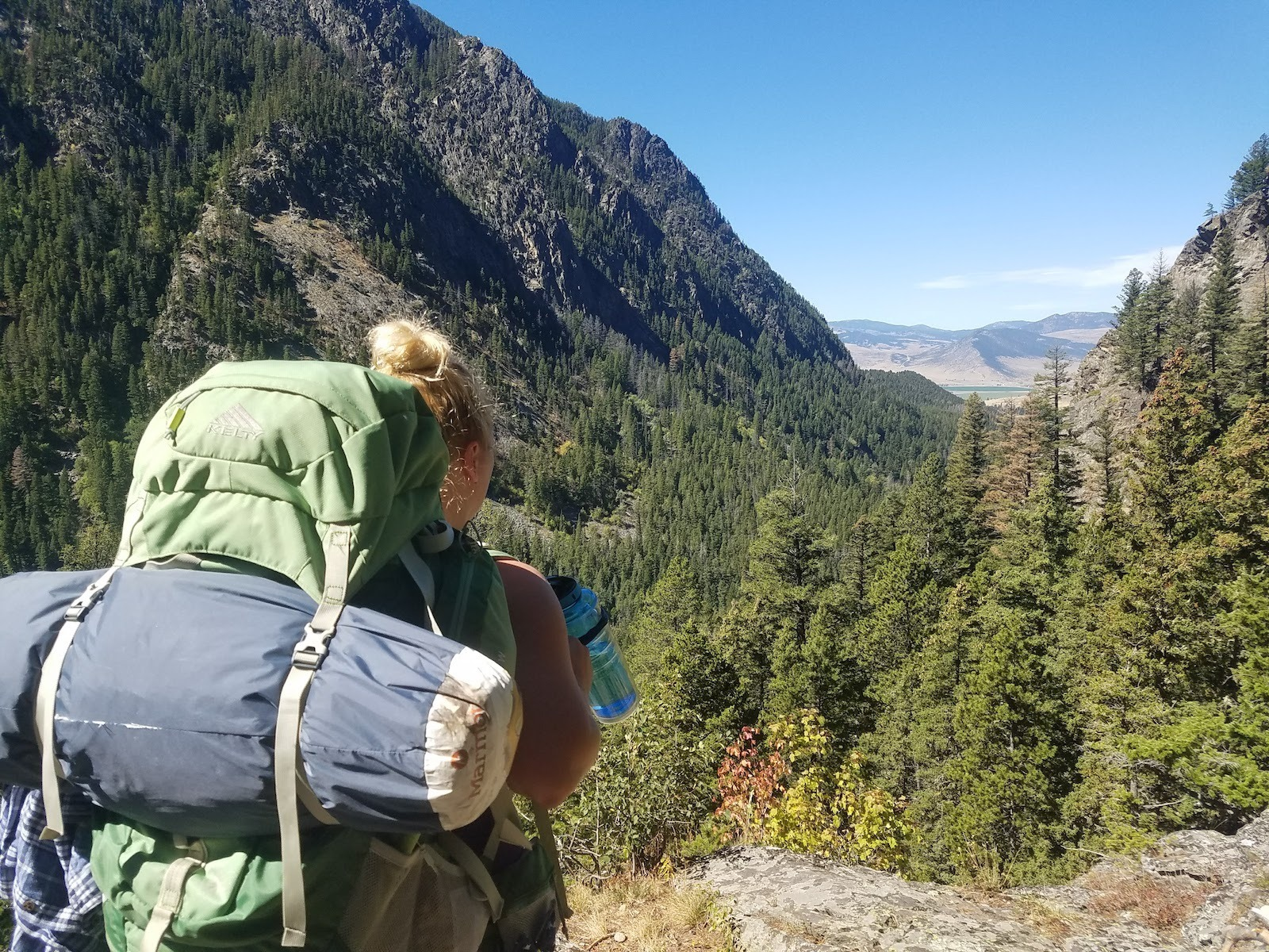 Woman hiking with beautiful views in Livingston Montana