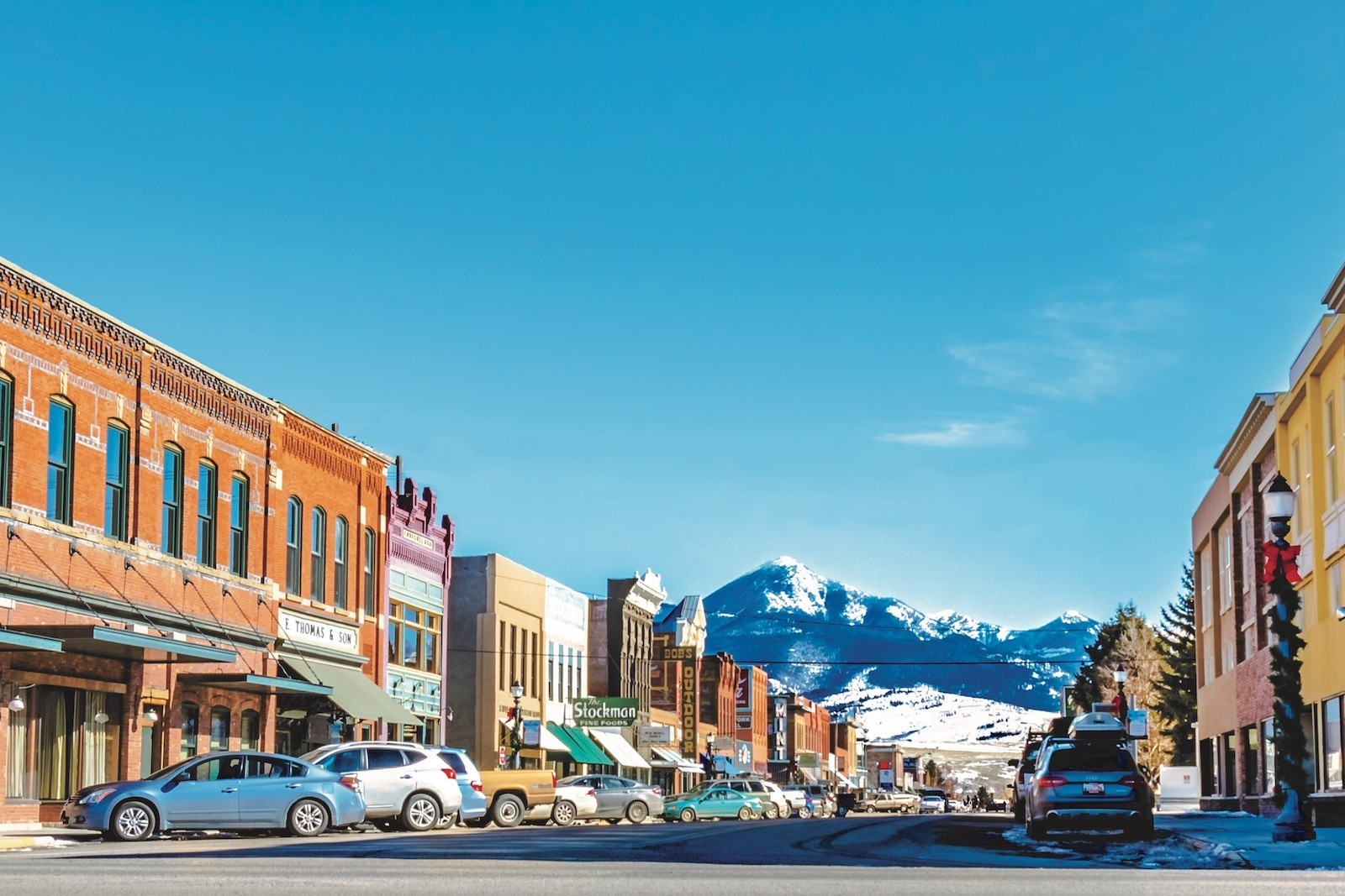 Livingston Montana downtown in the winter