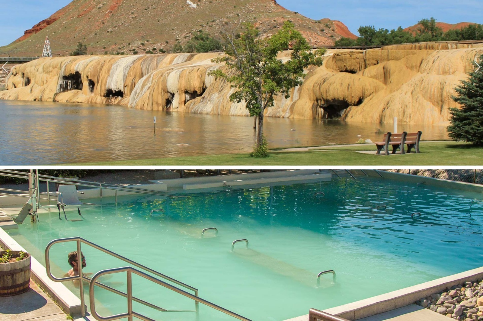 Thermopolis has rainbow terraces and hot springs in Wyoming