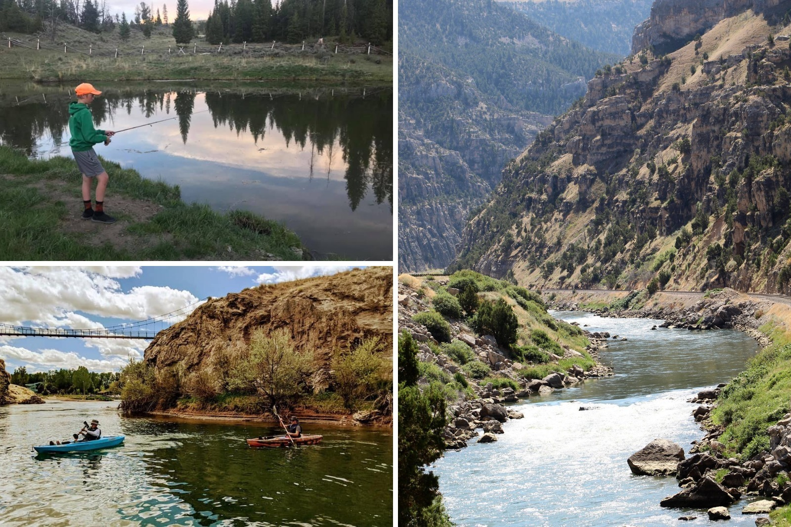 Collage of fishing and water sports pictures in Hot Springs County, Wyoming