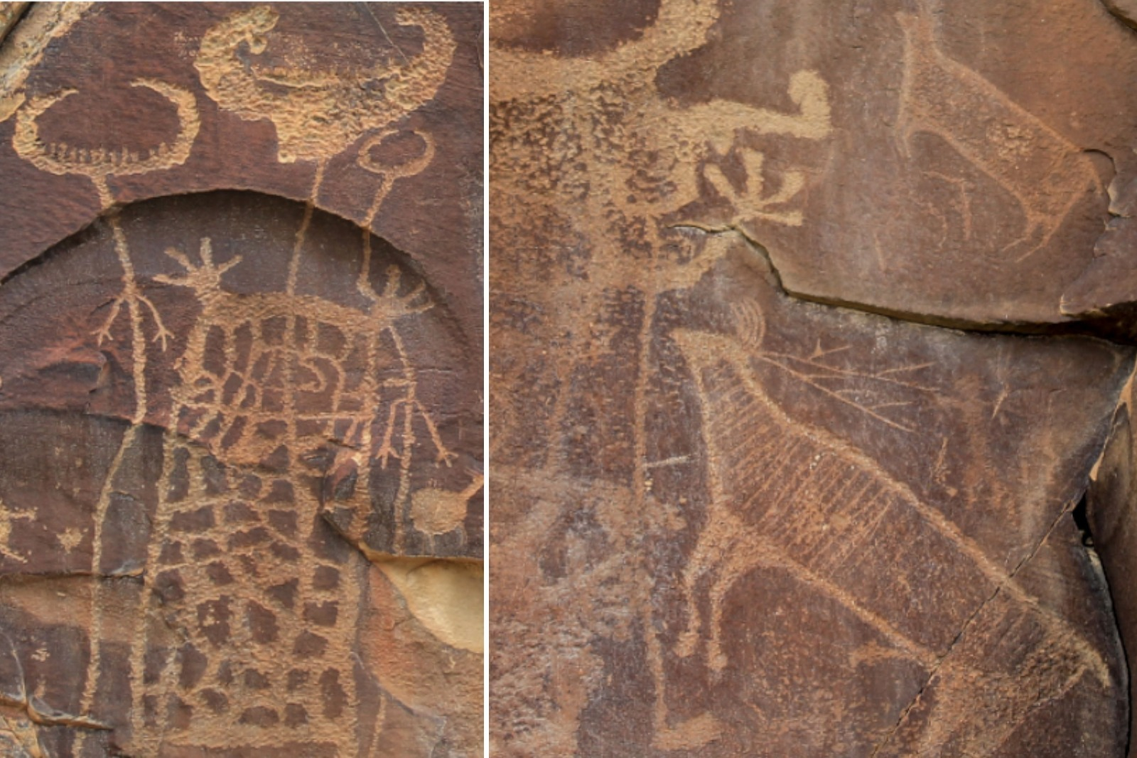 Petroglyphs near Thermopolis in Hot Springs County, Wyoming