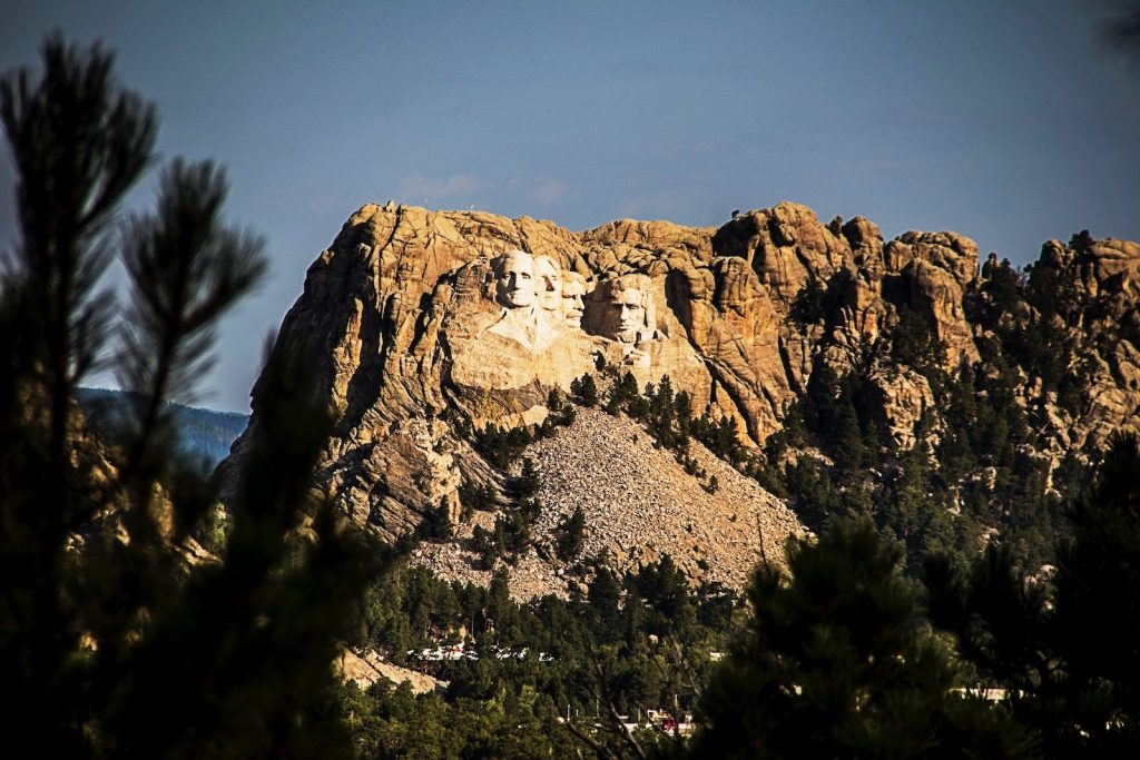 Mount Rushmore on national parks road trip with hot springs
