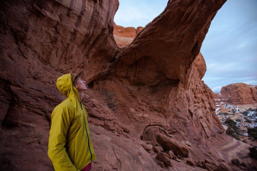 Hiker wearing moisture-wicking layers