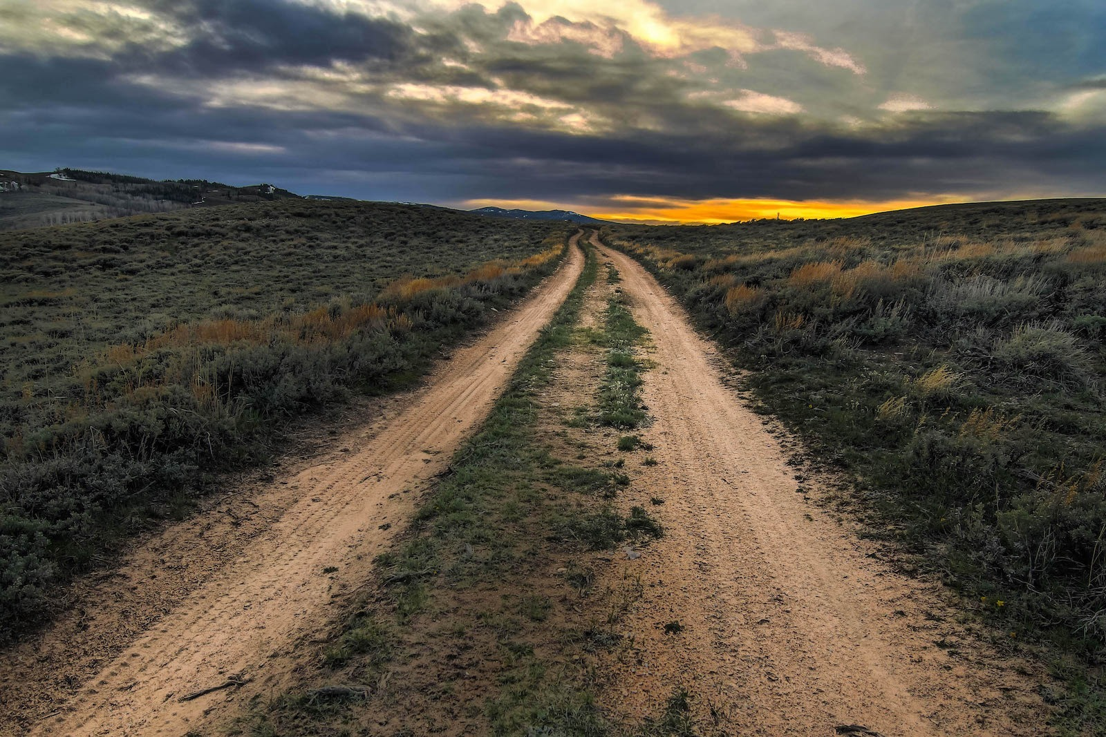 Empty two track at sunset in Carbon County, Wyoming