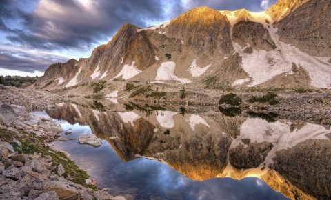 Mountain and lake scene in Carbon County, WYoming