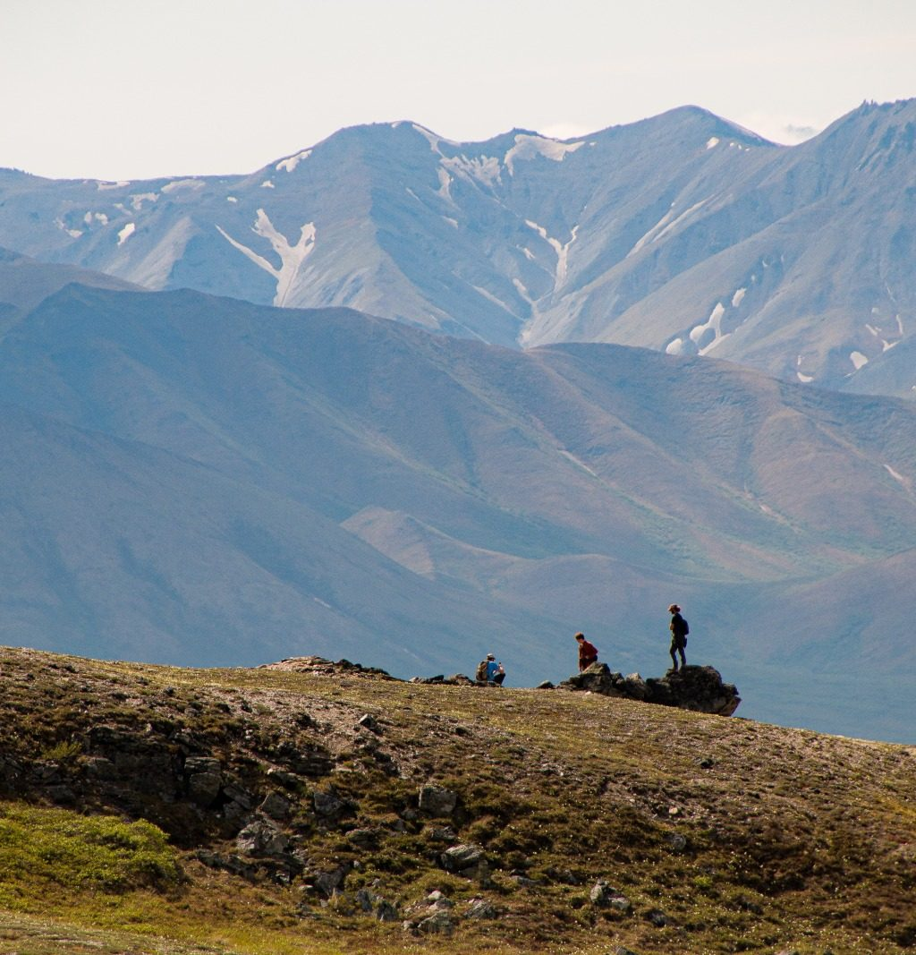 Hiking on Savage Creek trail in Denali National Park, Alaska.